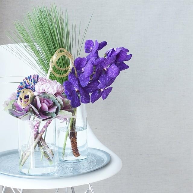 【冬の花色配色】パープルで和モダンに!IKEAの花器でお正月の花アレンジ