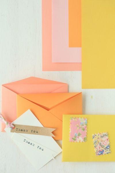 春色ファブリックを使った封筒&プレゼントタグ