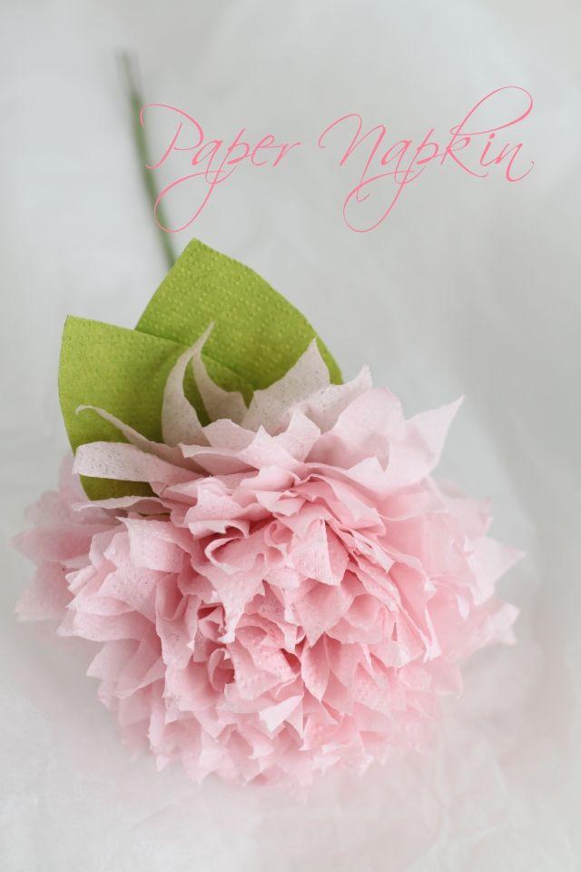 「IKEAのペーパーナプキンが可愛いお花に♪」