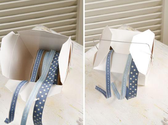 フードボックスを使って便利なリボンの収納箱