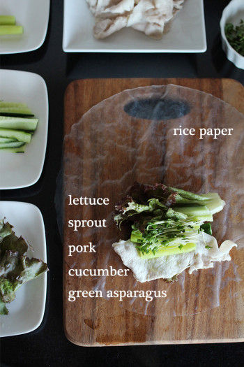 レシピ2(生春巻き3個分) ビタミンパワーを見方につけて☆ 野菜たっぷり豚しゃぶの生春巻き ・ライスペーパー ・レタス ・ブロッコリースプラウト ・豚しゃぶ ・きゅうり ・グリーンアスパラガス