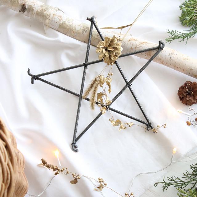 ダイソーの100均鉢スタンドと木の実草の実で作る星のリース♪