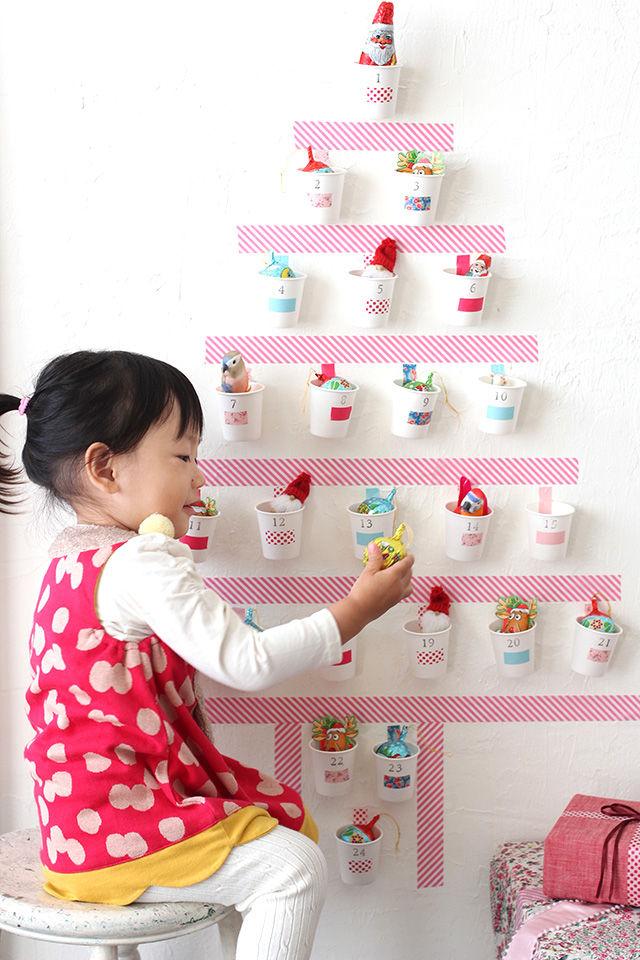 クリスマスのオーナメントやツリーに飾れるお菓子を入れれば、 毎日ひとつずつ飾り付けもできますね♪