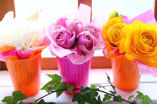 ヴィヴィッドカラーコップにお花を飾って