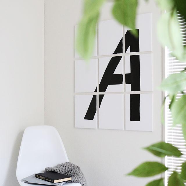 直線だけで簡単に♪ 海外インテリアのようなアルファベットのウォールアート