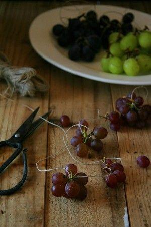 3.ぶどうとぶどうの間隔を少し空けながら、 用意した麻ひもやたこ糸をぶどうの枝にくくりつけます。