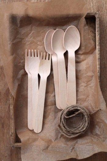 木製カトラリーのスプーンとフォーク 麻ひも 軽量ねんど 木工用ボンド