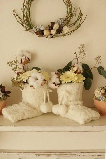 ◆クリスマスNo.5 モコモコ靴下でほっこり花飾り