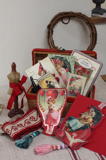 アンティーク風ポストカードでバレンタインのおうち飾り