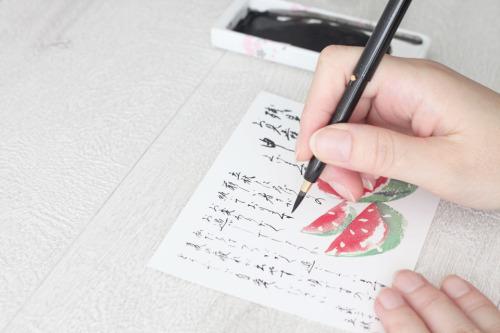 筆書きで贈る残暑見舞い