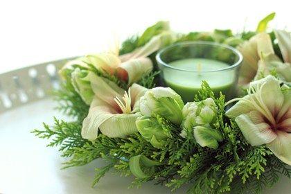 耐熱ガラスウェアでつくる生花のテーブルリース