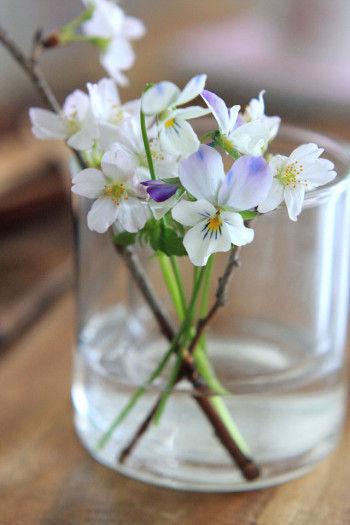 側面から見てもきれいなように 茎は一点に集めて、すっきりと。