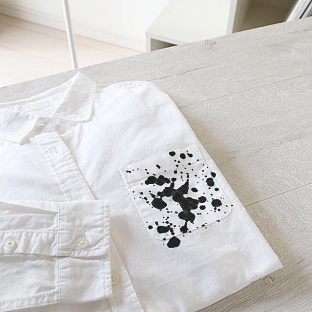 GU白シャツを墨でアレンジ! リメイクで差をつける春の服