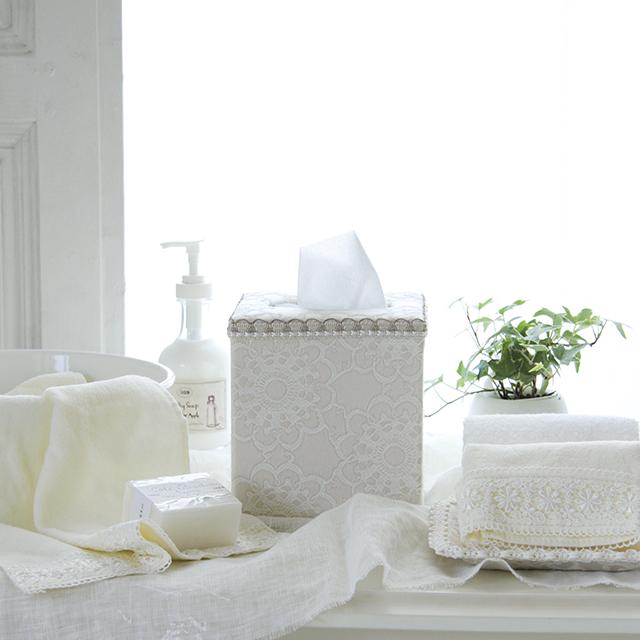 ホワイトエレガンスカルトナージュ~キューブ型ティッシュボックス&引き出し付棚