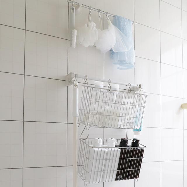 無印良品を使った「2段吊り下げ収納」でお風呂をスッキリ