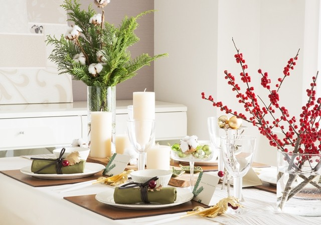 クリスマス 色 テーブルコーディネート