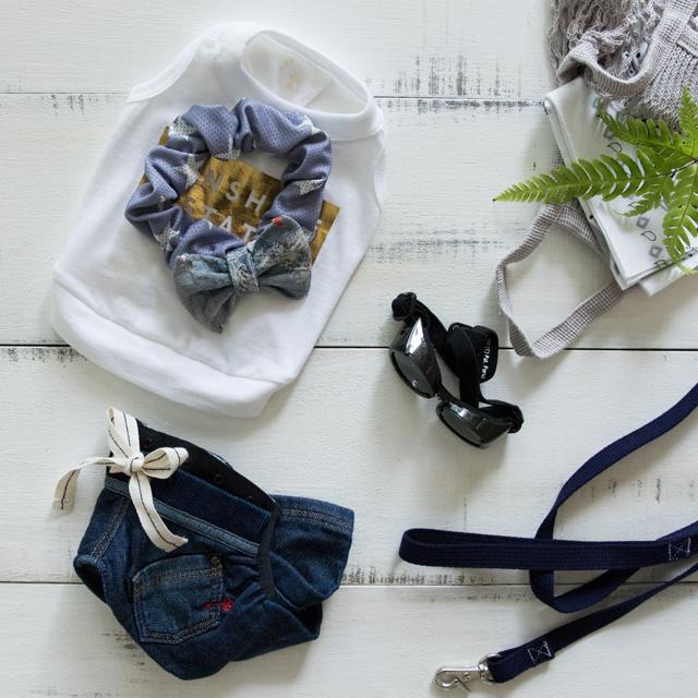 ワンコの夏のおでかけ☆クール素材の手作りシュシュで暑さ対策