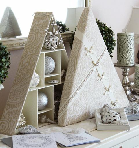 カルトナージュで作るオーナメントを収納できるクリスマスツリーボックス