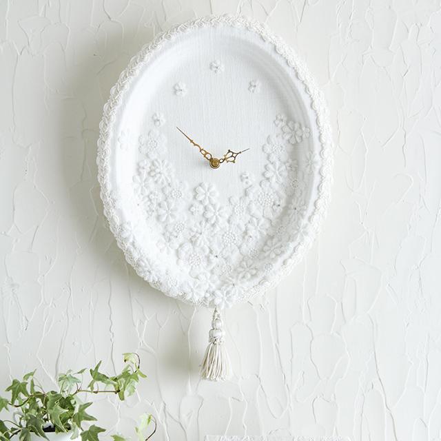 100均紙皿で簡単カルトナージュ~ホワイトエレガントな時計作り♪