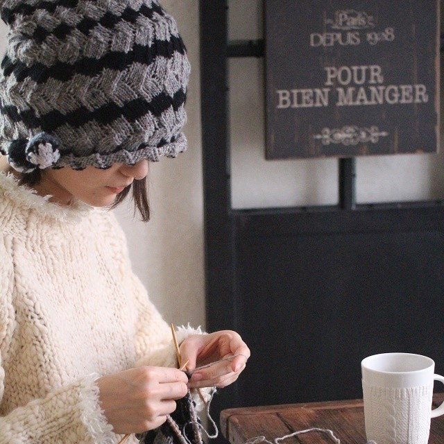 モバ編みのすすめ★北欧エストニアスパイラル・クルクル編んで3ウェイ帽子