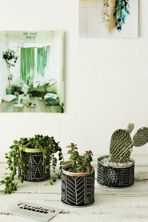 リメイク缶&幾何学模様で多肉植物をお洒落に!
