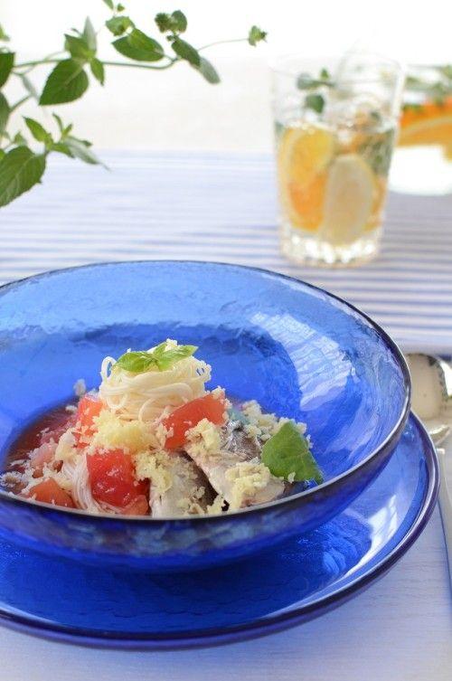 鯖の水煮缶を使って、お手軽イタリアンそうめん