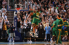 Utah Jazz with green jersey
