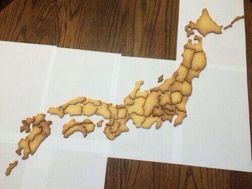 【画像】日本地図の形のクッキーがすごすぎると話題にwwwwww