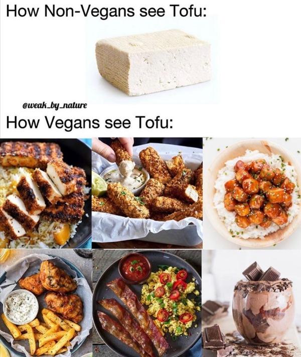 【画像】ヴィーガンと一般人とで「豆腐」の見え方が全然違うと話題に