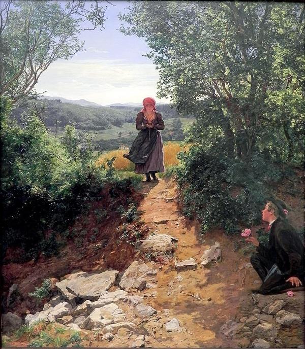 19世紀に描かれた絵画が歩きスマホ