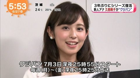 【朗報】フジ女子アナの久慈暁子さん(23)可愛すぎるwwwww(画像あり)