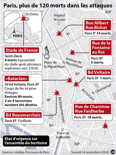 パリ同時多発テロマップ