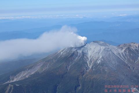 御嶽山噴火全景