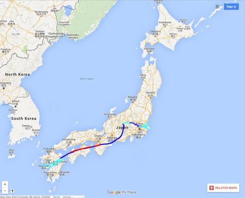 中央構造線日本全図