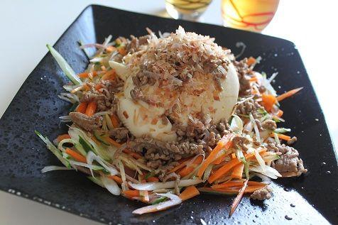 寄せ豆腐と薬味野菜のサラダ