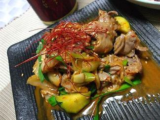 砂肝とズッキーニ韓国風炒め