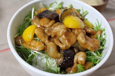 茄子と豚肉の甘辛味噌炒め