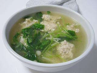 つくねと三つ葉の和風スープ