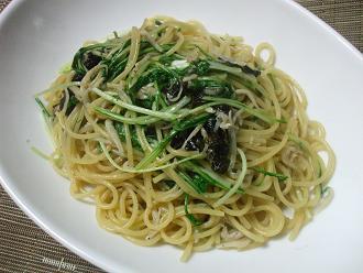 しらすと韓国海苔のスパゲティ
