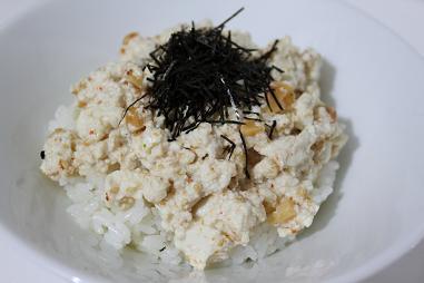 味噌かつお豆腐丼