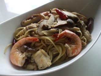 海老と茸の和風ペペロンチーノ