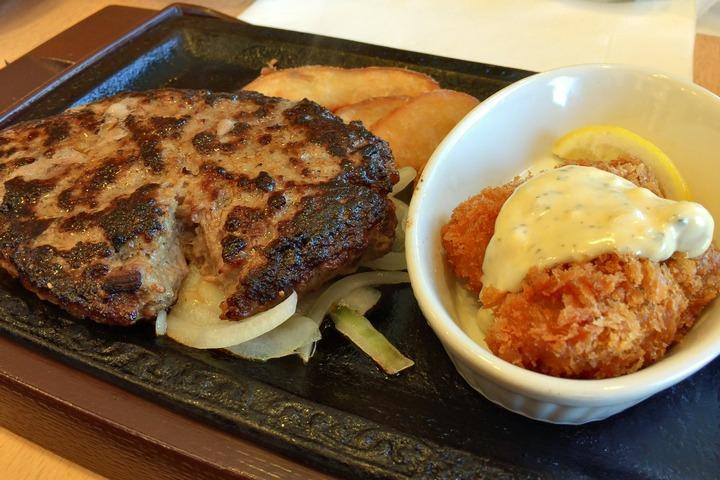 ステーキがストのハンバーグ&カキフライ
