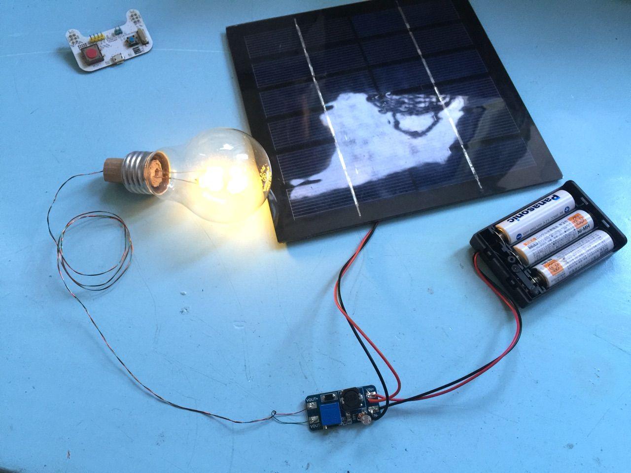 再利用電球を太陽電池で光るように改造してみた