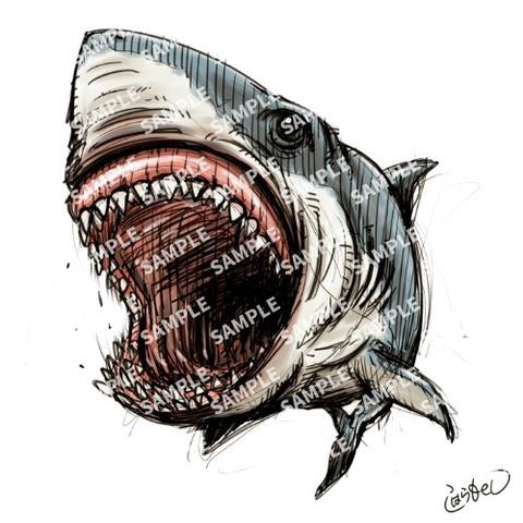 【デフォルメスケッチ】サメ_sample