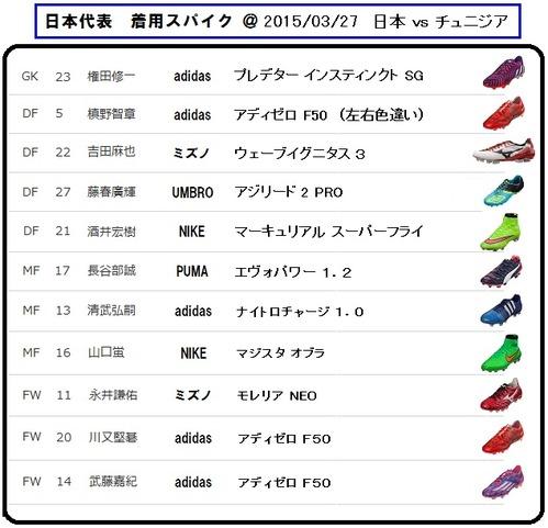 日本代表 vs チュニジア代表 着用スパイク