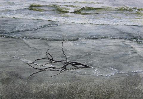 さざ波に想う 水彩画