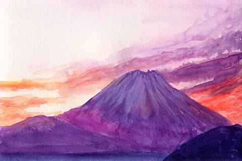 ハガキサイズに15分で水彩! 富士山 Koi-fumi
