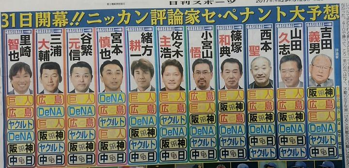 2017ペナント予想_ニッカン2