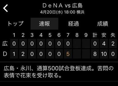 永川500試合達成4