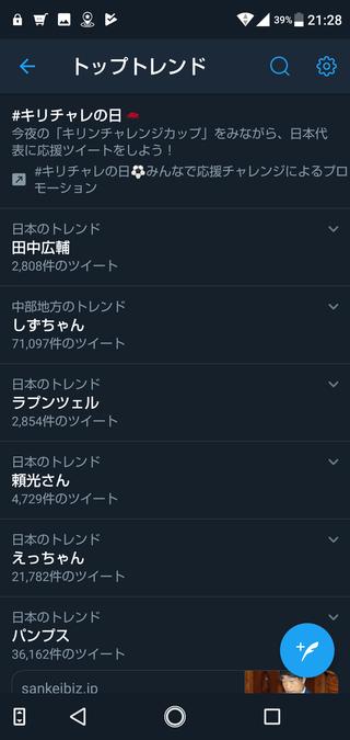 田中広輔Twitterトレンド20190605